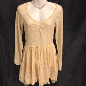 Free People Intimately Soft Peach Color Lace Dress